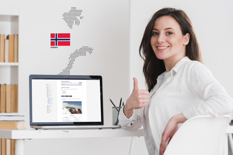 Happy woman taking online Norwegian A2 course